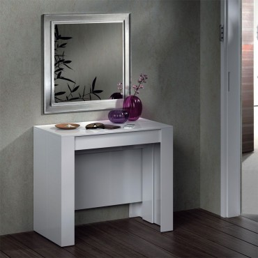 Mesa consola extensible blanco brillo