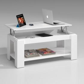 Mesa centro elevable AMBIT blanco brillo