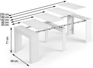 004580F Mesa consola extensible blanco brillo