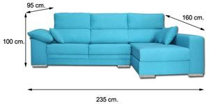 Sofa chaiselongue celeste